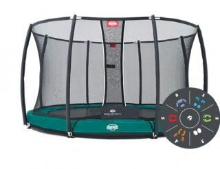 Батут Berg Elite + Inground Green 430 Tattoo + Safety Net T-series 430