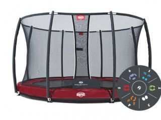 Батут Berg Elite + Inground Red 430 Tattoo + Safety Net T-series 430